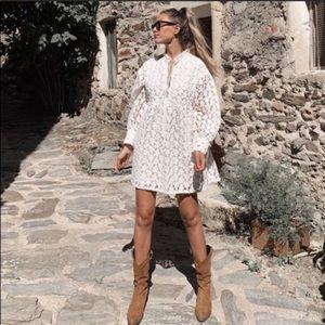 Zara textured weave mini white dress NWT Small